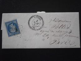 FRANCE TIMBRE CLASSIQUE NAPOLEON 14 LETTRE ENVELOPPE LAC OBLITERATION CACHET PERLE VITTEL VOSGES PETIT CHIFFRE 3664 - Postmark Collection (Covers)