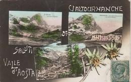 VALTOURNANCHE-AOSTA-SALUTI DA-MULTIVEDUTE(3 IMMAGINI CON STELLA ALPINA)CARTOLINA VERA FOTOGRAFIA-VIAGGIATA IL 29-8-1913 - Aosta