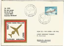 TURQUIA CC PRIMER VUELO INSTANBUL BRUXELLES  1967 DC-9 TURKISH AIRLINES - 1921-... República