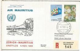 NACIONES UNIDAS GENEVE SUIZA PRIMER VUELO SWISSAIR ZURICH MAURITIUS 1983 - Aéreo