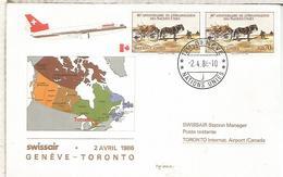 NACIONES UNIDAS GENEVE SUIZA PRIMER VUELO SWISSAIR GENEVE TORONTO 1986 - Aéreo