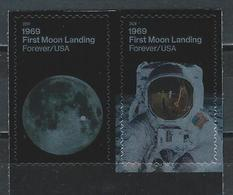 USA. Scott # ?  MNH Pair. First Moon Landing 50th Anniv. 2019 - Bandes & Multiples