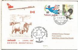 NACIONES UNIDAS GENEVE SUIZA PRIMER VUELO SWISSAIR GENEVE MONTREAL 1986 - Aéreo