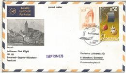 YUGOSLAVIA  PRIMER VUELO LUFTHANSA BUCAREST ZAGREB MUNCHEN FRANKFURT - Aéreo