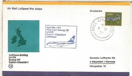 IRLANDA CC PRIMER VUELO LUFTHANSA 1974 DUBLIN DUSSELDORF BOEING 737 - Aéreo