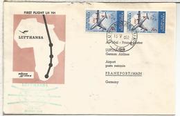 SUDAFRICA  CC PRIMER VUELO LUFTHANSA 1962 JOHANNESBURG FRANKFURT - Aéreo