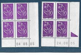 0,10 € Marianne De Lamouche Violet Deux Blocs De 4 Teintes Différentes Coin Datés 4.5.2005 Et 24.8.2005 - 2004-08 Marianne Of Lamouche