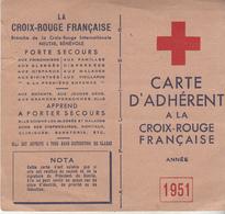 CARTE D'ADHERENT A LA CROIX ROUGE FRANÇAISE 1951 - Croce Rossa