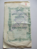 Compagnie Agricole Et Hypothécaire Argentine - Action De Capital De 500 Fr - Agriculture