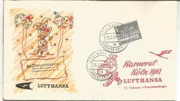 ALEMANIA CC PRIMER VUELO LUFTHANSA KOLN KARNEVAL CARNAVAL 1961 - Carnavales