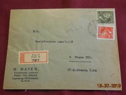 Lettre De 1944 En Recommandé Au Depart De Prague à Destination De Prague - Bohême & Moravie