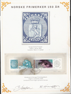 Norway 2005 150 Years Of Norwegian Stamps MI Bloc 29 Cancelled 19.11  With Signature Og Artists Finger And Morken - Neufs