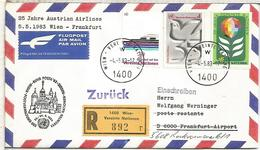 NACIONES UNIDAS WIEN CC CERTIFICADA VUELO WIEN FRANKFURT 1983 AUSTRIAN AIRLINES - Aéreo
