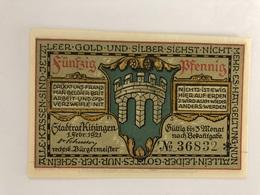 Allemagne Notgeld Kitzingen 50 Pfennig - [ 3] 1918-1933 : Weimar Republic