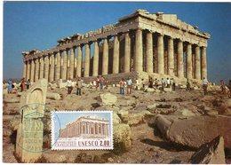 Carte Maximum  Acropole D Athènes  Monument Romain  Obliteration 1er Jour Unesco  Paris - Architettura