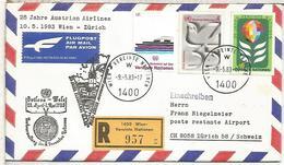 NACIONES UNIDAS WIEN CC CERTIFICADA VUELO WIEN ZURICH 1983 AUSTRIAN AIRLINES - Aéreo