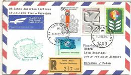 NACIONES UNIDAS WIEN CC CERTIFICADA VUELO WIEN WARSCHAU 1983 AUSTRIAN AIRLINES - Aéreo