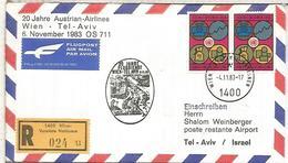 NACIONES UNIDAS WIEN CC CERTIFICADA VUELO WIEN TEL AVIV ISRAEL 1983 AUSTRIAN AIRLINES - Aéreo