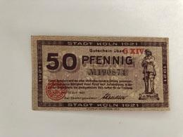 Allemagne Notgeld Koln 50 Pfennig - [ 3] 1918-1933 : Weimar Republic
