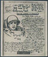 """WW2 USA Censor Illustrated US Army V-MAIL Private Ray S. Van Zyl """"Somewhere In France"""" -  Billings, Montana. - United States"""