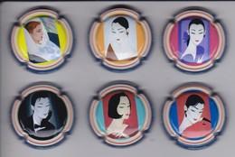 SERIE COMPLETA DE 6 PLACAS DE CAVA DE MUJERES DE CHINA (CAPSULE) MUJER-WOMAN - Placas De Cava