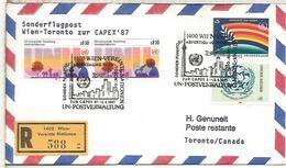 NACIONES UNIDAS WIEN CC CERTIFICADA VUELO WIEN TORONTO CAPEX 87 - Aéreo