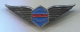 Airlines, Plane Flug, Aviation - VIASA JUNIOR STEWARDESS Venezuela, Vintage Pin, Badge, Abzeichen, D 65 X 20 Mm - Airplanes
