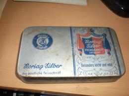 Old Tin Box Nortag Silber Nortag Tabak Feinschnitt Entrippt Besonders Leicht Und Mild - Boites à Tabac Vides