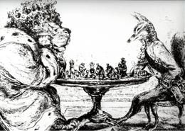 ! 1 Foto, Photo Format 24cm X 17,8cm Gemälde Tiere, Löwe + Fuchs Als Schachspieler , Schach, Chess, Echecs - Schach