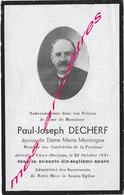 En 1941 -Vieux Berquin (59) Paul DECHERF Ep Marie MONTAIGNE Membre Confréries De La Paroisse 77 Ans - Décès