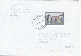 Latvia Cover Sent To Denmark Birini 28-6-2002 Single Franked - Latvia