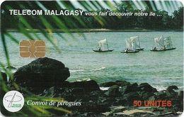 Madagascar - Telecom Malagasy - Convoy De Pirogues - 50Units, Chip AX03, 150.000ex, Used - Madagascar