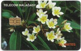 Madagascar - Telecom Malagasy - Frangipani Flowers - 25Units, Chip AX02, 1.600.000ex, Used - Madagascar
