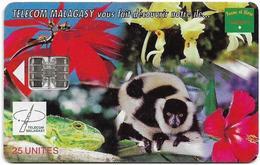 Madagascar - Telecom Malagasy - Nature Of Madagascar (Animals & Flowers) - 25Units, SC7, 600.000ex, Used - Madagaskar