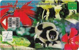 Madagascar - Telecom Malagasy - Nature Of Madagascar (Animals & Flowers) - 25Units, SC7, 400.000ex, Used - Madagascar