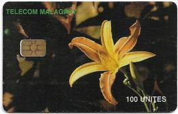 Madagascar - Telecom Malagasy - Orchid Flowers - 100Units, Chip AX02, 100.000ex, Used - Madagascar