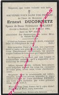 En 1910 Bailleul (59) Ernest DUCORNETZ EpStéphanie POLAERT 82 Ans - Décès
