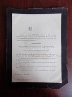 Faire Part De Décès Mme Anne-Marie Lejeune , Vve Mr Aubin Rittweger - Verviers 1800 - Bruxelles 1882 - Décès