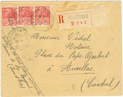 Lettre N° 272 X 3 Recommandé De Bougival Seine Et Oise - Postmark Collection (Covers)