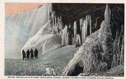 BELOW THE FALLS IN WINTER-TABLE ROCK TUNNEL-QUEEN VICTORIA PARK-NIAGARA FALLS-CANADA-NON VIAGGIATA - Niagara Falls