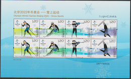 CHINA, 2019, MNH,WINTER OLYMPICS, BEIJING 2022, SKIING, SHEETLET OF 2 Sets - Inverno 2022 : Pechino