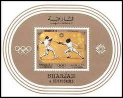 Sharjah - 2053/ Bloc N° 108 Jeux Olympiques (olympic Games) Munich 1972 Escrime Fencing ** MNH - Schardscha