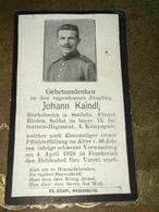 Sterbebild Wk1 Bidprentje Avis Décès Deathcard IR15 MOREUIL MONTDIDIER April 1918 Aus Schlicht Rieden - 1914-18