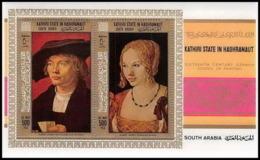 Aden - 1019 Kathiri State Of Seiyun - Bloc N° 21A DURER Tableau (tableaux Painting) Cote 18 Euros - Ver. Arab. Emirate