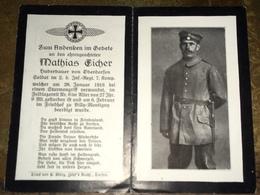 Sterbebild Wk1 Bidprentje Avis Décès Deathcard IR2 BILLY MONTIGNY Block 5 Grab 226 Januar 1916 Aus Oberdorfen - 1914-18
