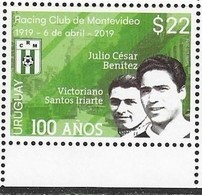 URUGUAY, 2019, MNH, SOCCER, FOOTBALL, FAMOUS CLUBS, RACING CLUB OF MONTEVIDEO, 1v - Club Mitici