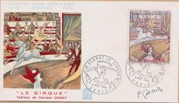 ENVELOPPE TIMBRE  SIGNE GANDON  1969 G SEURAT LE CIRQUE PARIS - FDC