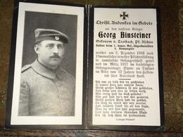 Sterbebild Wk1 Bidprentje Avis Décès Deathcard 1. Res. Jäger Batl. Rumänien SIPOTE 1917 Gefangenenlager TYPHUS Troibach - 1914-18