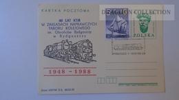 D165602 Poland Uprated Postal Stationery -Ganzsache -Entier - BYDGOSZCZ 1948-1988 Railway Train - Trains