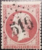 FRANCE Y&T N°24a Napoléon 80c Rose Foncé. Oblitéré Losange G.C. N°516 Bolbec - 1862 Napoleon III
